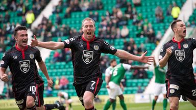 David Clarkson celebrates scoring the goal which sent St Mirren into the last eight of the IRN-BRU Cup at Hibernian's expense