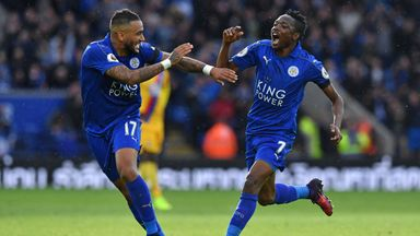 Leicester City's Ahmed Musa (R) celebrates with Danny Simpson