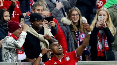 Douglas Costa celebrates scoring for Bayern Munich