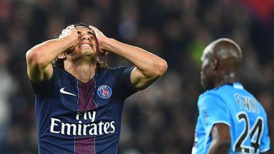 PSG's Edinson Cavani shows his frustration against Marseille