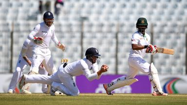 Gary Ballance catches Tamim Iqbal during the 4th day of the 1st Test match