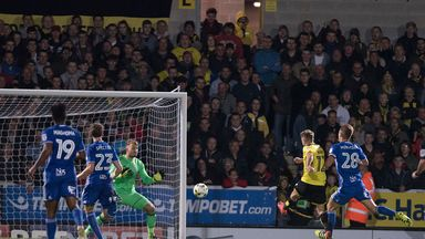 Jamie Ward of Burton Albion scores the second goal of the night