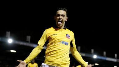 Zach Clough celebrates after putting Bolton ahead at Bury