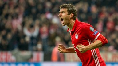 Bayern Munich forward Thomas Muller celebrates goal