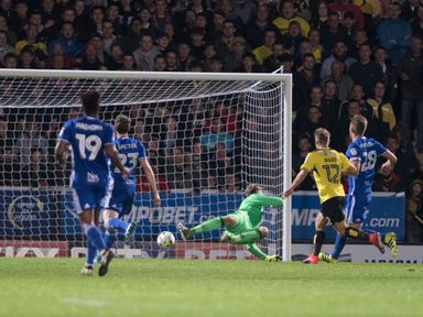 Jamie Ward of Burton Albion scores the second goal during the Sky Bet Championship match between Burton Albion and Birmingham