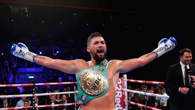 LIVERPOOL, ENGLAND - OCTOBER 15:  Tony Bellew of England celebrates after winning in the WBC Cruiserweight Championship match during Boxing at Echo Arena o