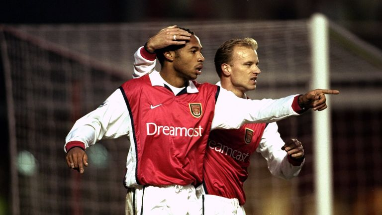28 Nov 1999:  Thierry Henry of Arsenal celebrates his goal with team mate Dennis Bergkamp during the FA Carling Premiership match against Derby County at H