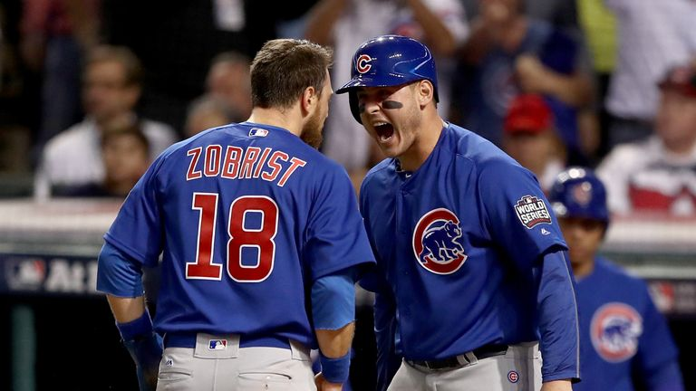 Ben Zobrist celebrates with Anthony Rizzo
