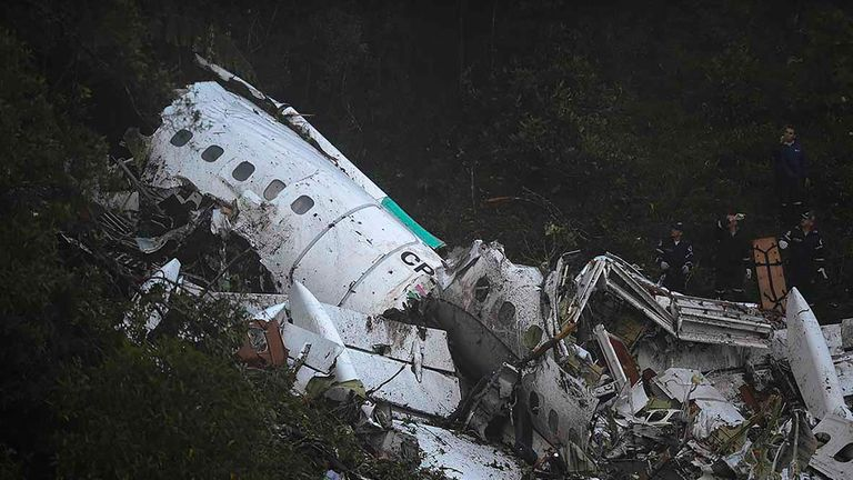 Wreckage of the chartered plane carrying Chapecoense players after it crashed in La Union