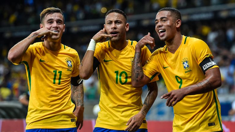 England fans could see Brazilian stars Philippe Coutinho, Neymar and Gabriel Jesus at Wembley