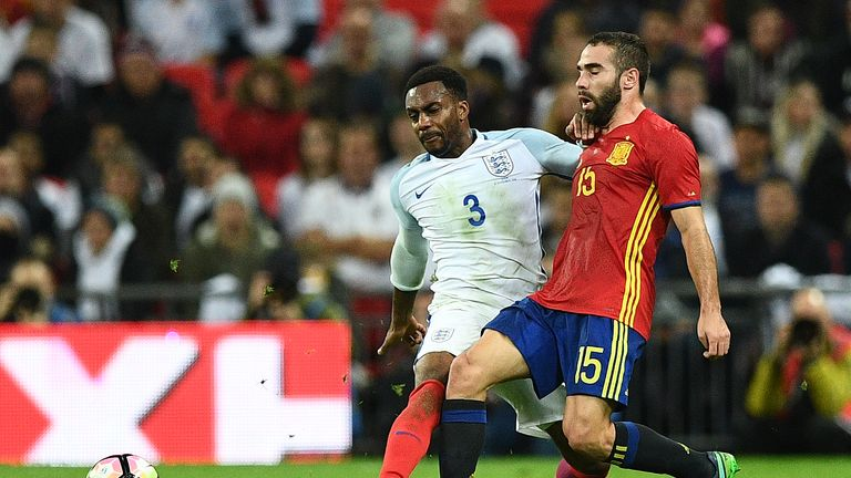 Danny Rose (left) played for England against Scotland and Spain