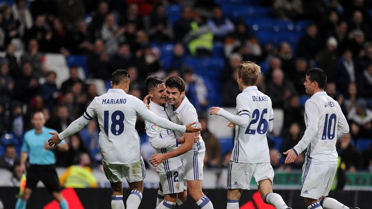 Enzo Zidane is congratulated by team-mates after scoring on his senior debut for Real Madrid
