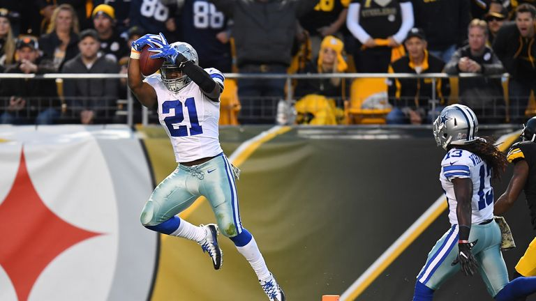 Ezekiel Elliott leads the league in rushing, and is still chasing the rookie season record of 1,808 yards