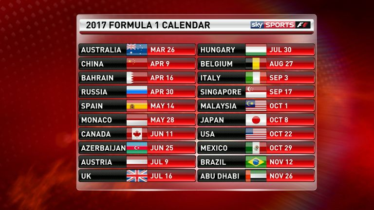 f1 2017 calendar and schedule driver line ups and test. Black Bedroom Furniture Sets. Home Design Ideas