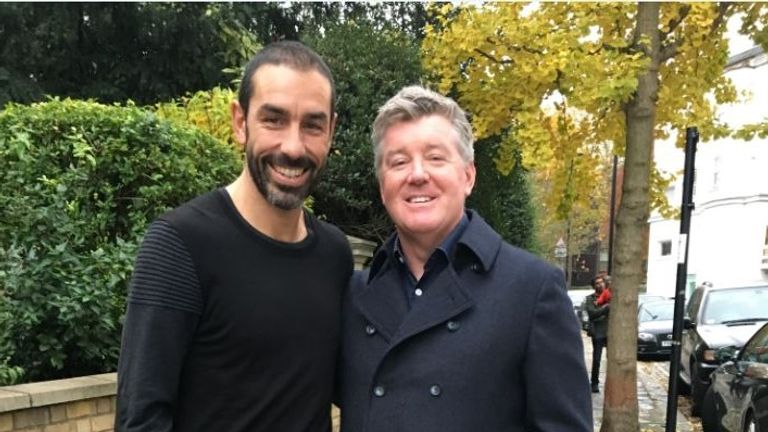 Geoff Shreeves (right) met Arsenal legend Robert Pires