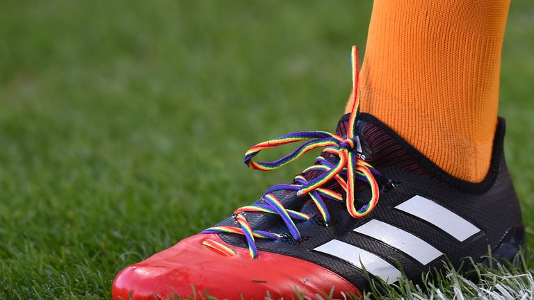 A Hull City player sports the rainbow laces in a game against West Bromwich Albion