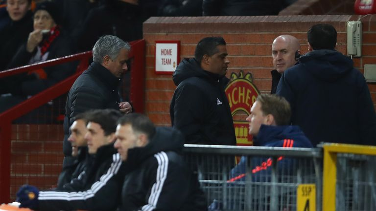 Mourinho makes his way to the stands after being sent off by the referee at the weekend