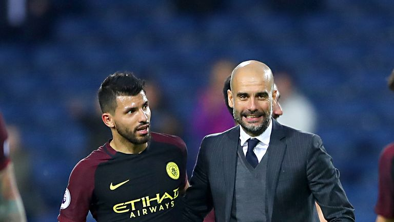 Pep Guardiola (right) withSergio Aguero