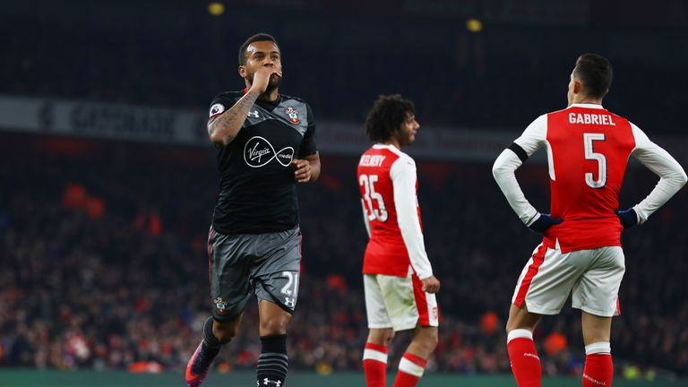 Ryan Bertrand celebrates scoring Southampton's second goal at the Emirates
