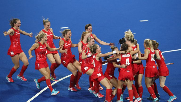 Great Britain players celebrate winning the shootout against Netherlands to win the Rio 2016 women's hockey gold medal