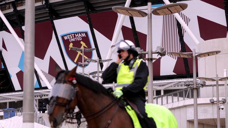 Police presence ahead of the Premier League match between West Ham and Stoke at London Stadium