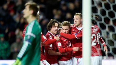 Christian Eriksen celebrates after scoring Denmark's second goal