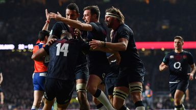 Jonny May celebrates his try against Argentina with his England team-mates