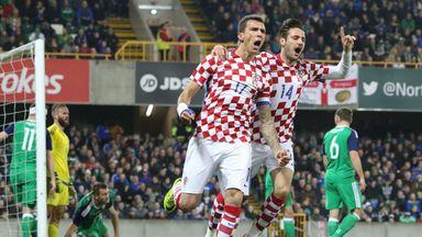 Croatia skipper Mario Mandzukic (C) celebrates scoring his team's first goal