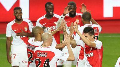 Monaco's players celebrate their win over Marseille