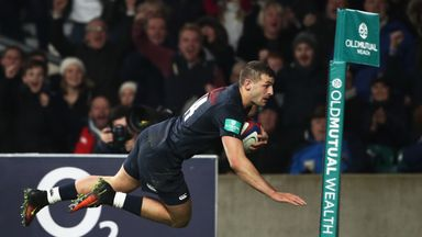 Jonny May scores England's second try against Argentina