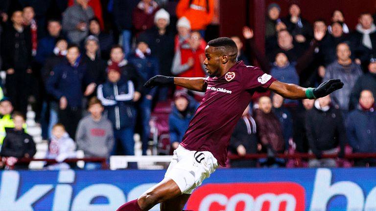 Arnaud Djoum gave Hearts lead with fifth goal of season