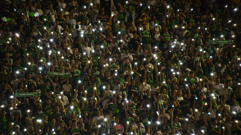 Brazil's Chapecoense football club fans participate in a tribute to the players killed in a plane crash