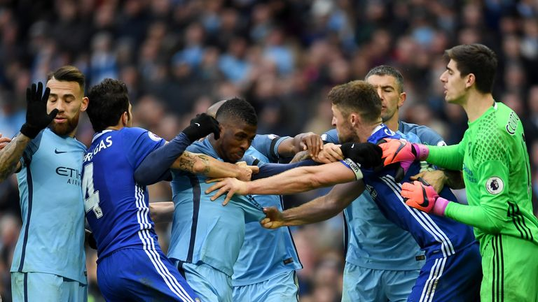 Tempers flare at the Etihad between Manchester City and Chelsea players