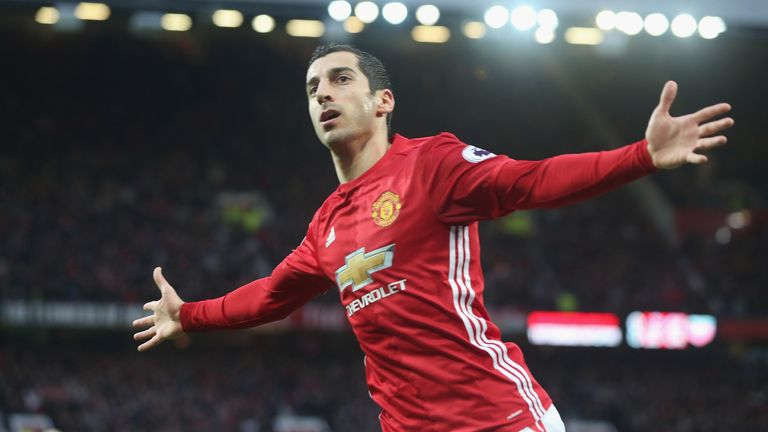 Henrikh Mkhitaryan celebrates his opener at Old Trafford