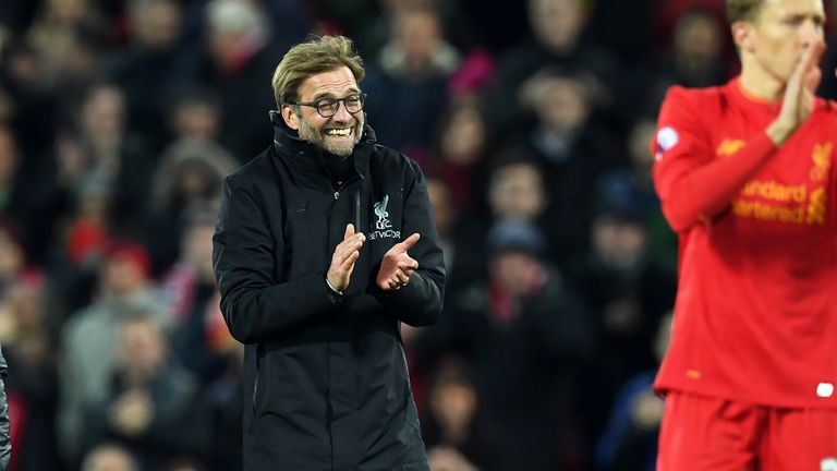 Jurgen Klopp celebrates following Liverpool's 1-0 win over Manchester City
