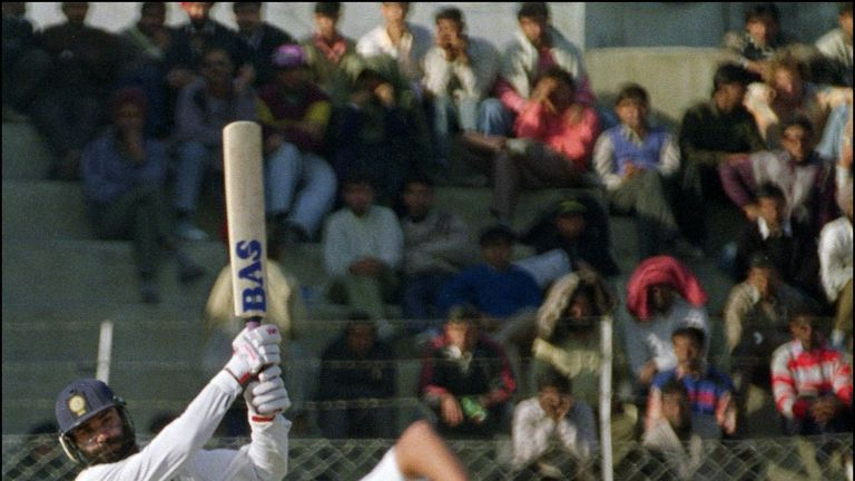 Indian opener Navjot Sidhu hits out on his way to a match-winning century in 1993