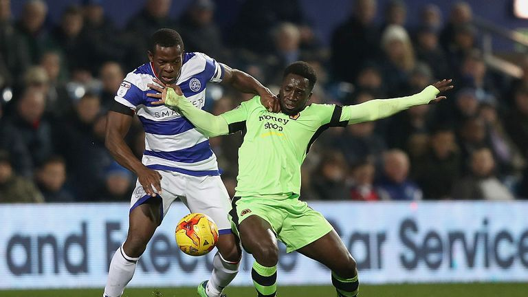 QPR defender Nedum Onuocha of QPR (left) and Nouha Dicko of Wolves battle for possession