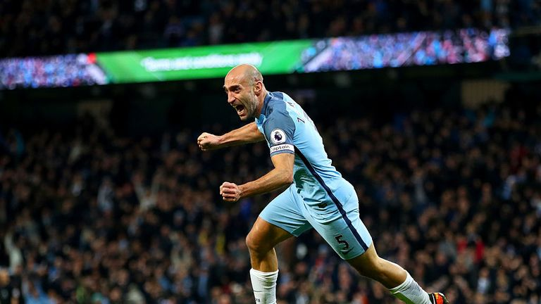 Image result for man city 2-1 leicester zabaleta