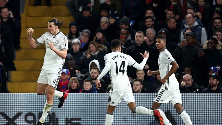 Zlatan Ibrahimovic celebrates putting Manchester United 2-1 up late in the game