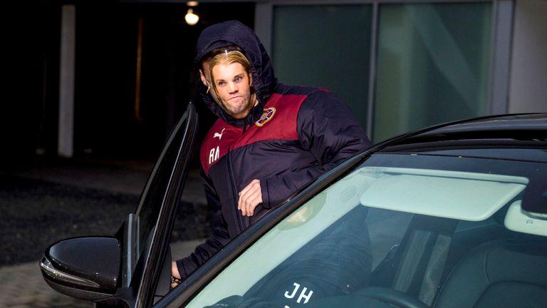 A Robbie Neilson lookalike leaves Hearts' training ground