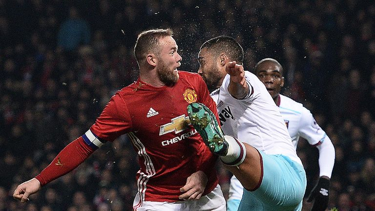 Rooney clashed with the foot of West Ham United's Winston Reid during the EFL Cup quarter-final on Wednesday