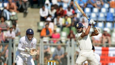 Murali Vijay cuts away during India's first innings in the fourth Test in Mumbai against England