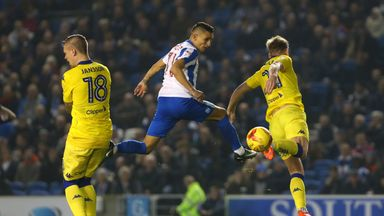 Brighton and Hove Albion's Anthony Knockaert (centre) heads the ball towards goal during the Sky Bet Championship match at the AMEX Stadium, Brighton.
