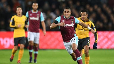 Dimitri Payet in action for West Ham against Arsenal in December