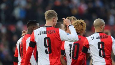 Nicolai Jorgensen scored twice as Feyenoord hit city rivals Sparta Rotterdam for six