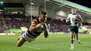 Adam Thompstone crosses for Leicester in the derby victory