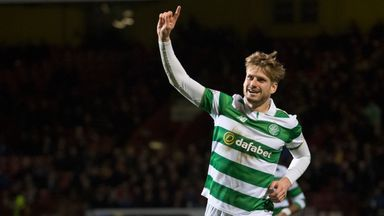 Celtic's Stuart Armstrong celebrates his second goal