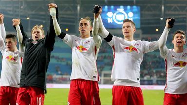 RB Leipzig's players celebrate after victory over Schalke