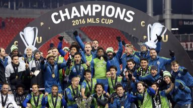 Seattle Sounders celebrate winning the MLS Cup