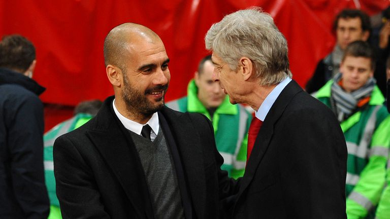 Arsene Wenger and Pep Guardiola before a Champions League match in Barcelona in March 2011